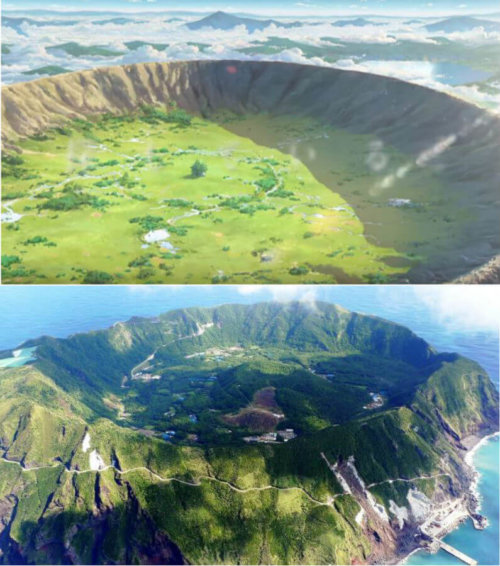 Aogashima Island of Tokyo vs Depiction in Your Name