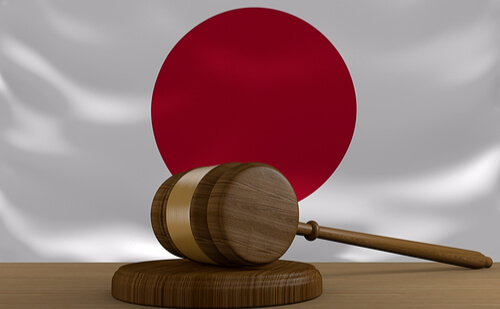 Japanese gavel denoting laws of minpaku in Tokyo