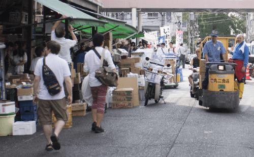 shops at the Tsukiji Fish Market in Tokyo